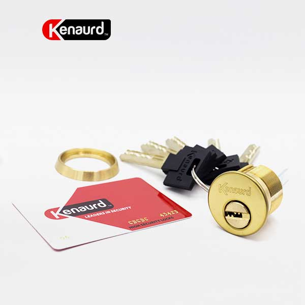 "1-1/8"" HS Mortise/Rim Cylinder Combo—06 Dimple—BRASS (KENAURD)"